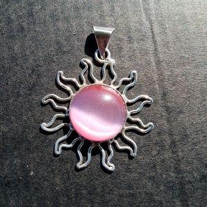 Vintage Jewelry - 🚫SOLD🚫sterling 925 sun pendant pink cat eye